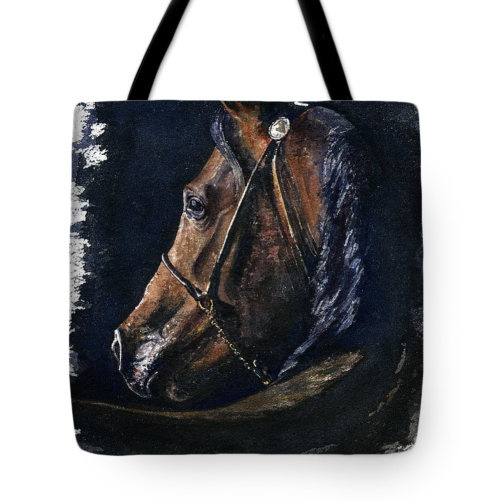 Horse Tote Bag featuring the painting Arabian by John D Benson