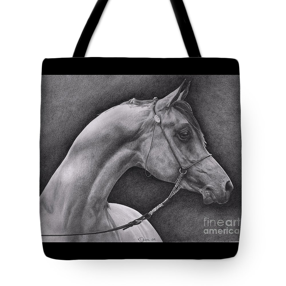 Horse Tote Bag featuring the drawing Arabian by Karen Townsend