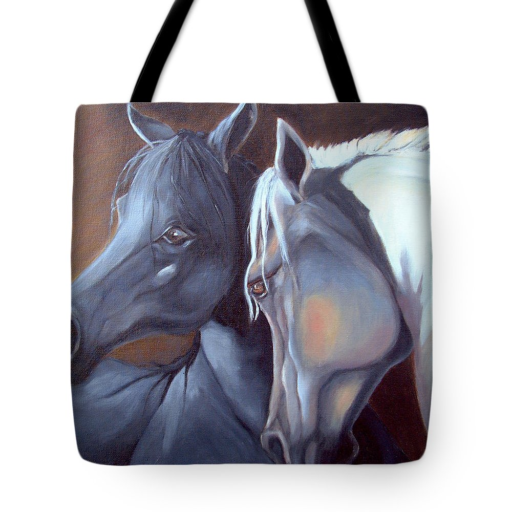 Equestrian Art Tote Bag featuring the painting Arabique by Enzie Shahmiri