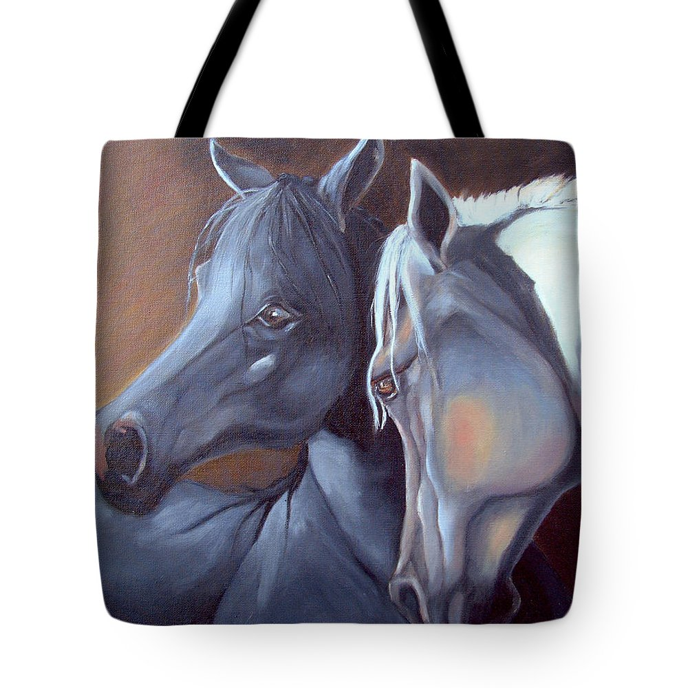 Equestrian Art Tote Bag featuring the painting Arabique by Portraits By NC
