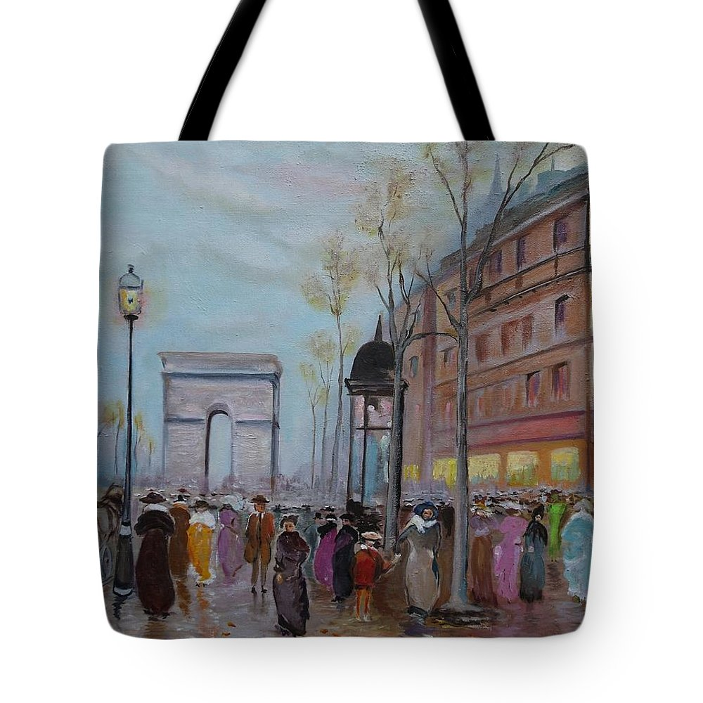 Paris Tote Bag featuring the painting Arc De Triompfe - Lmj by Ruth Kamenev
