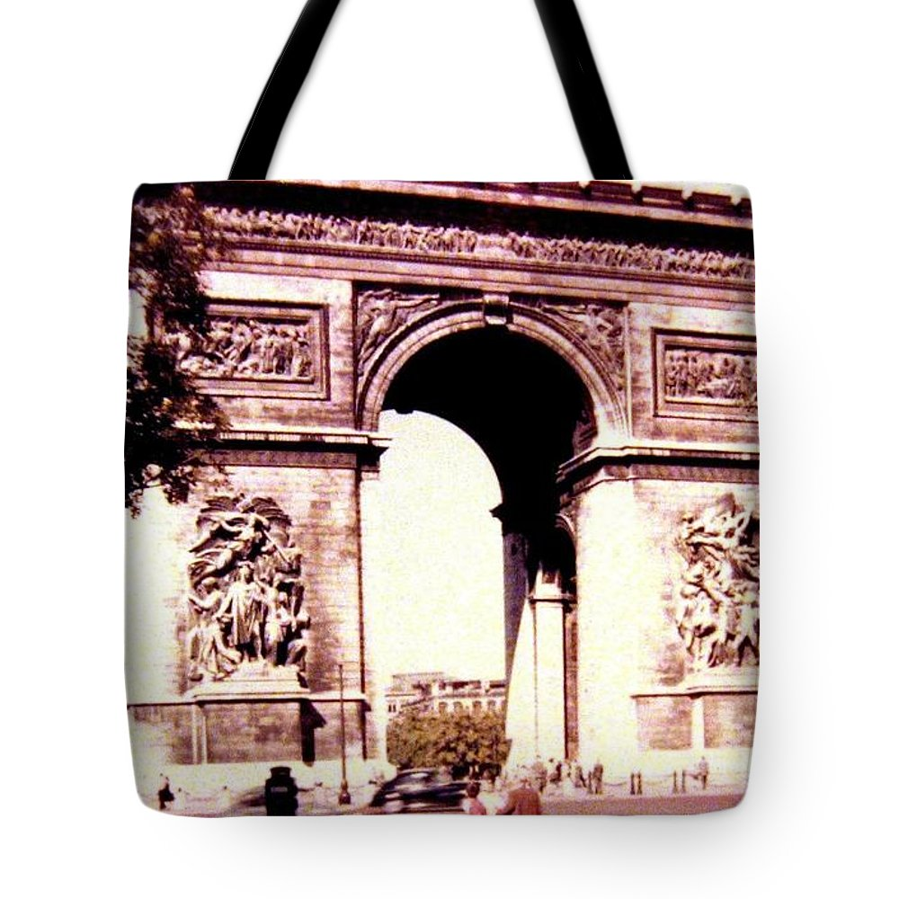 1955 Tote Bag featuring the photograph Arc De Triomphe 1955 by Will Borden