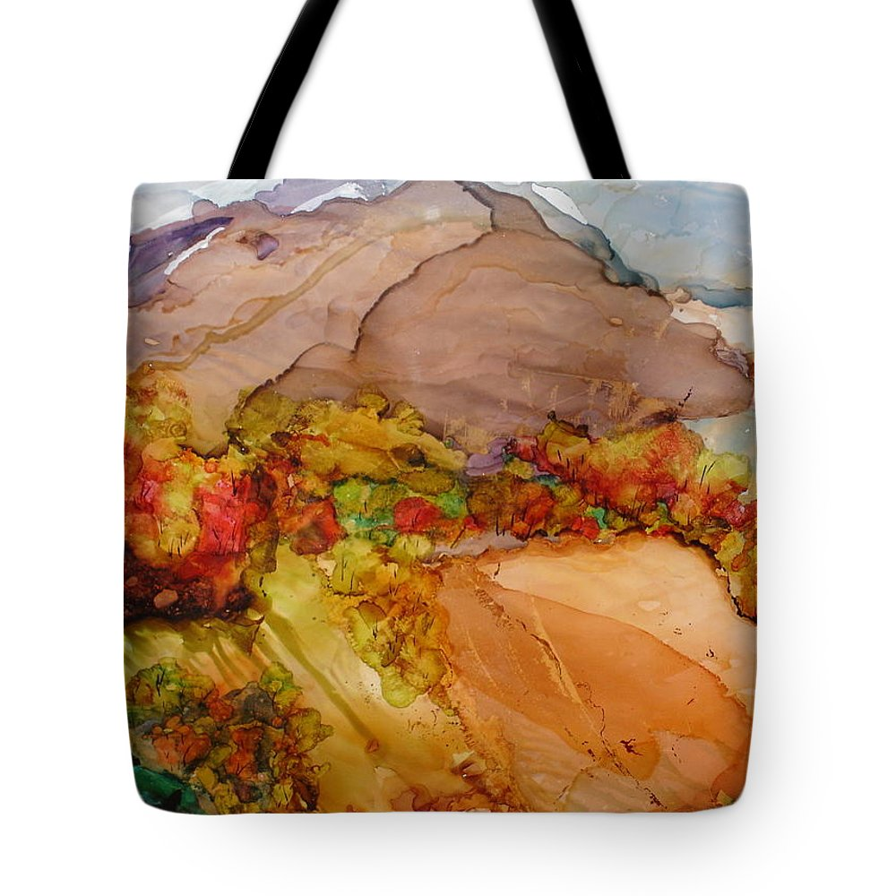 Mountain Tote Bag featuring the painting Arcadia 2 by Susan Kubes