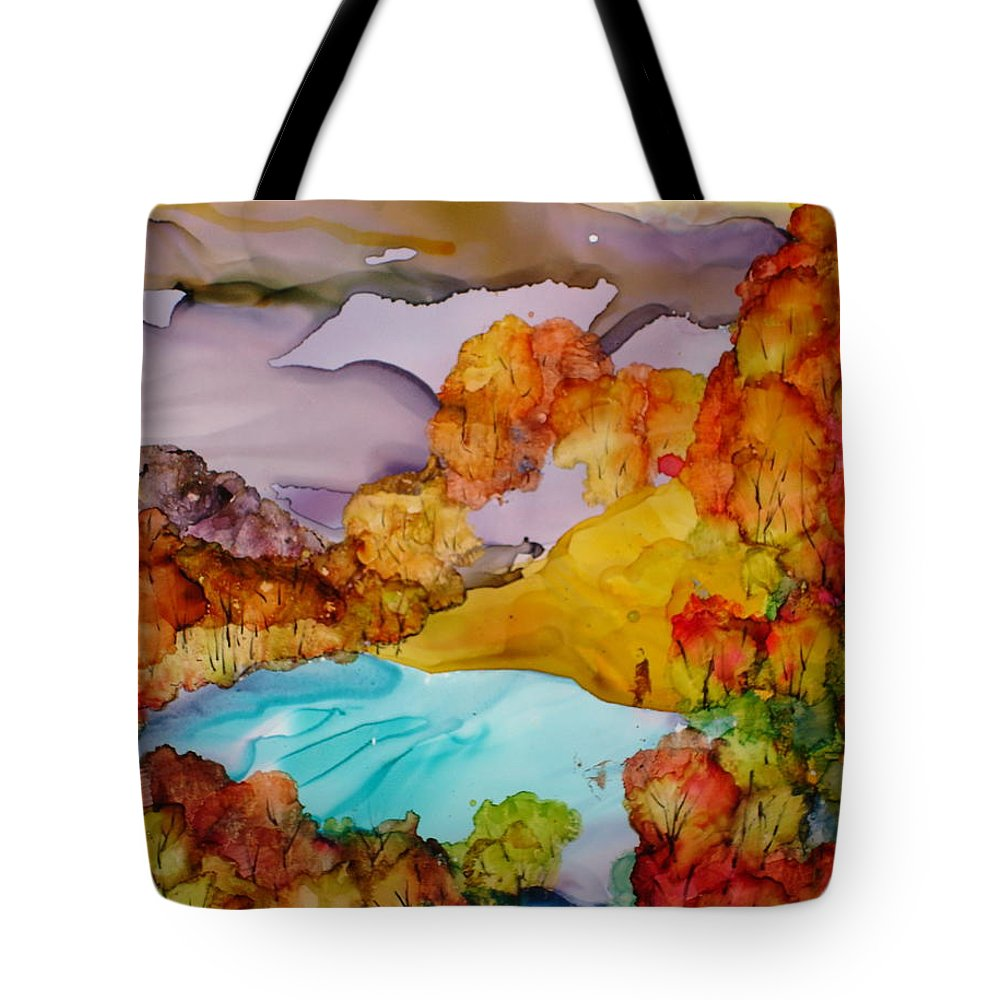 Fall Tote Bag featuring the mixed media Arcadia by Susan Kubes