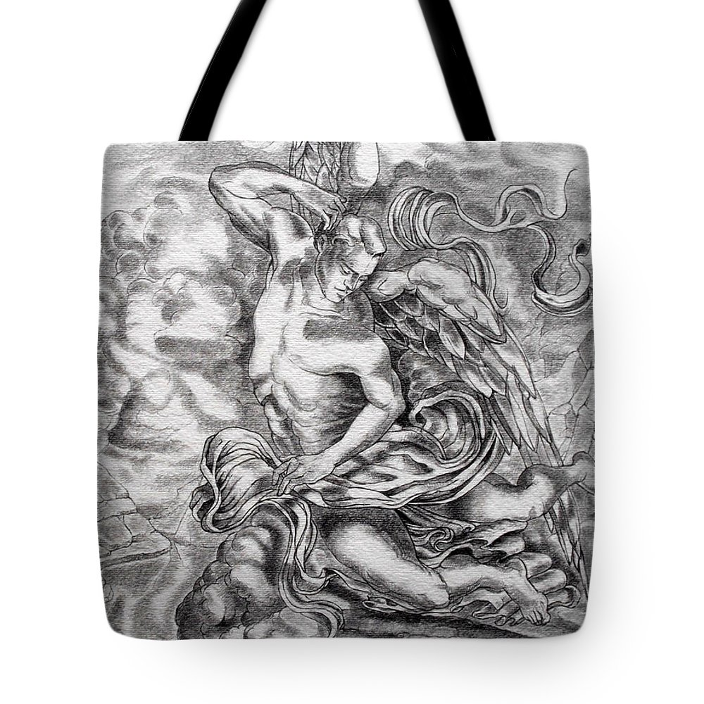 Angel Art Tote Bag featuring the drawing Arch Angel by Gary Renegar