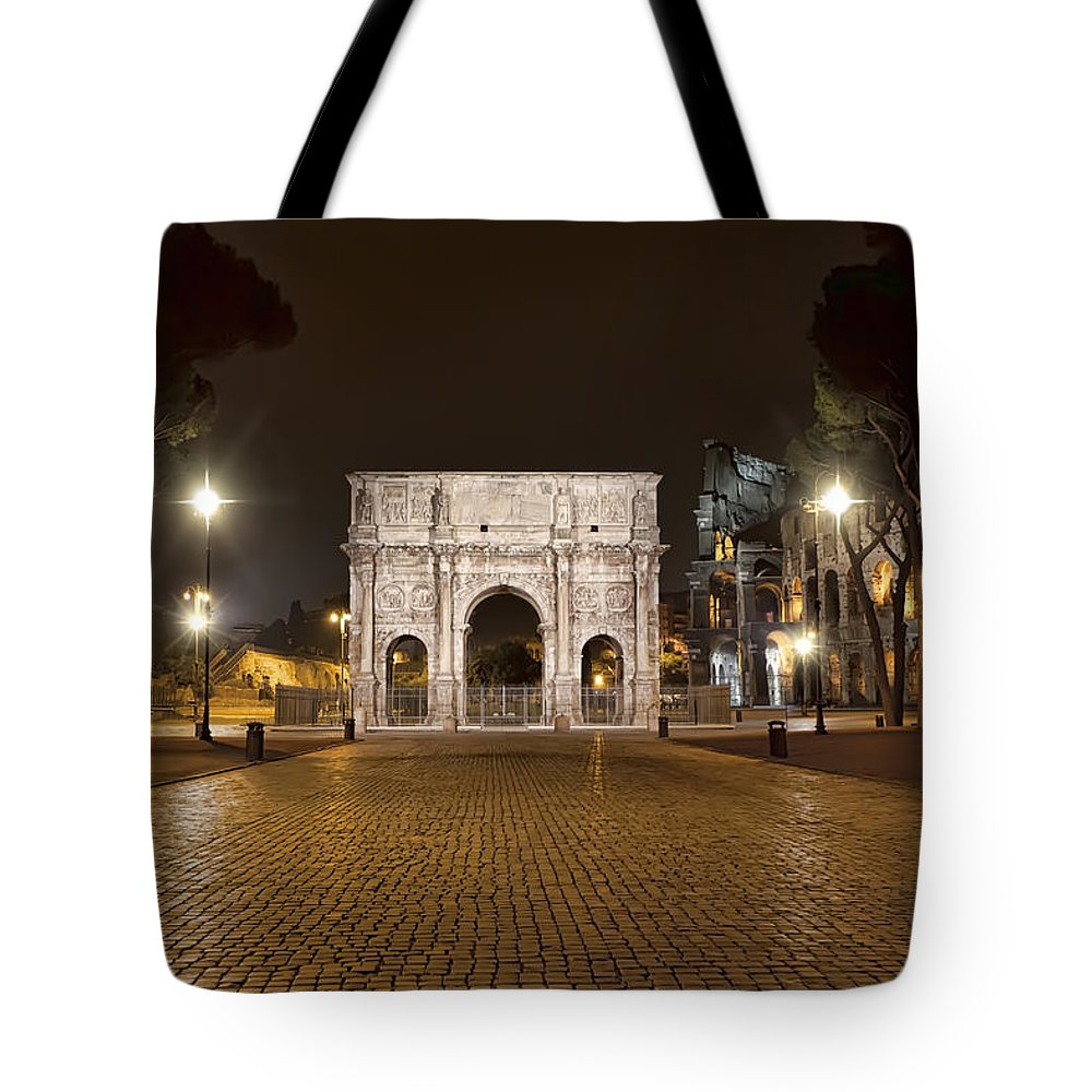 Italy Tote Bag featuring the photograph Arch At Night by Janet Fikar