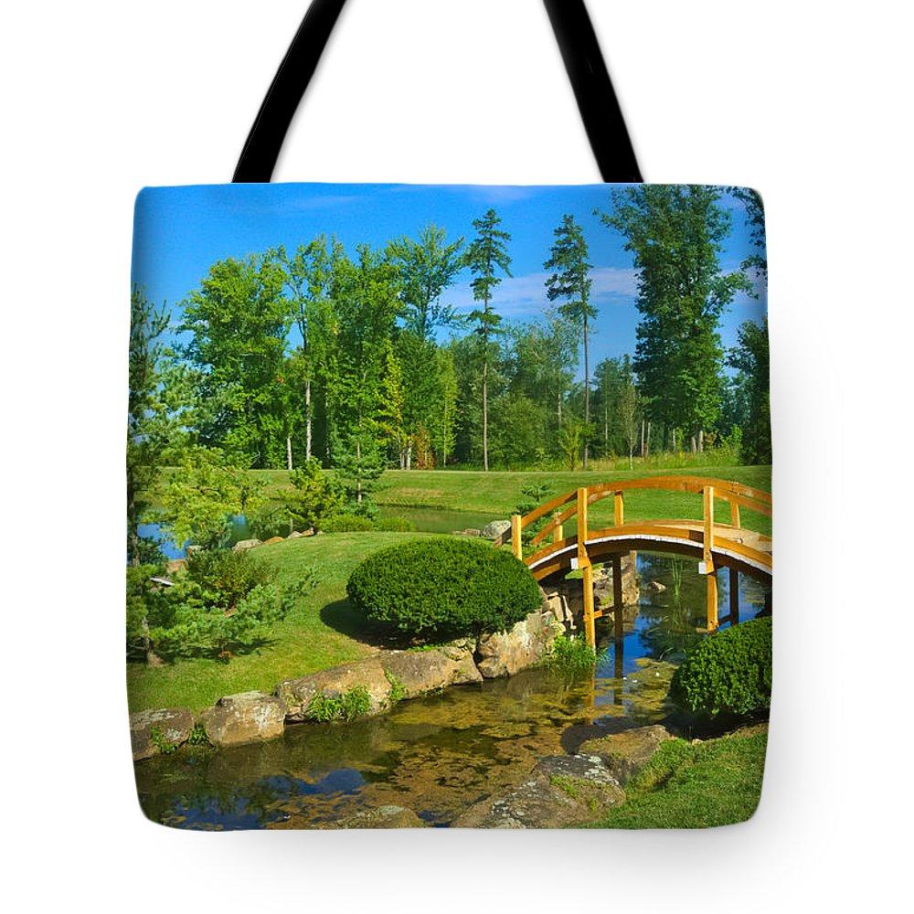 Bridge Tote Bag featuring the photograph Arched Bridge by Amanda Jones
