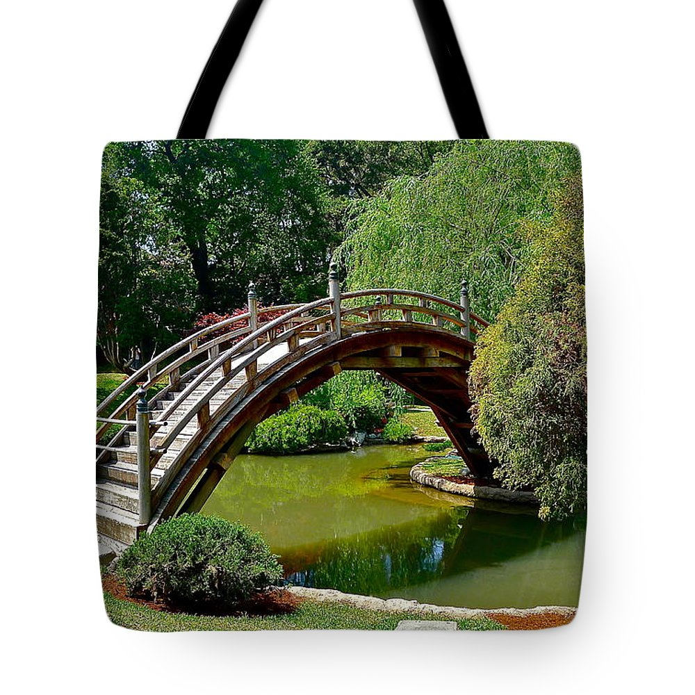 Garden Tote Bag featuring the photograph Arched Bridge by Denise Mazzocco