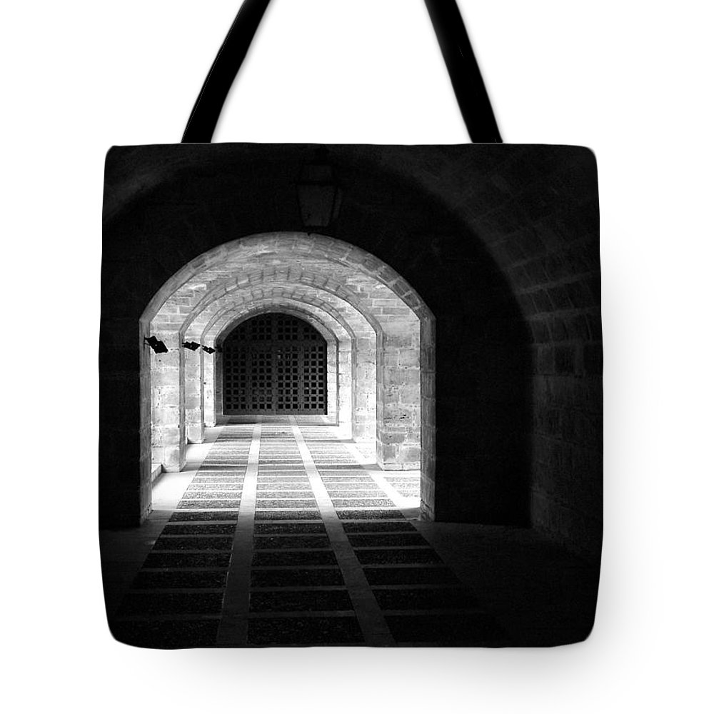 Landscape Tote Bag featuring the photograph Arched Hallway In Palma by Donna Corless