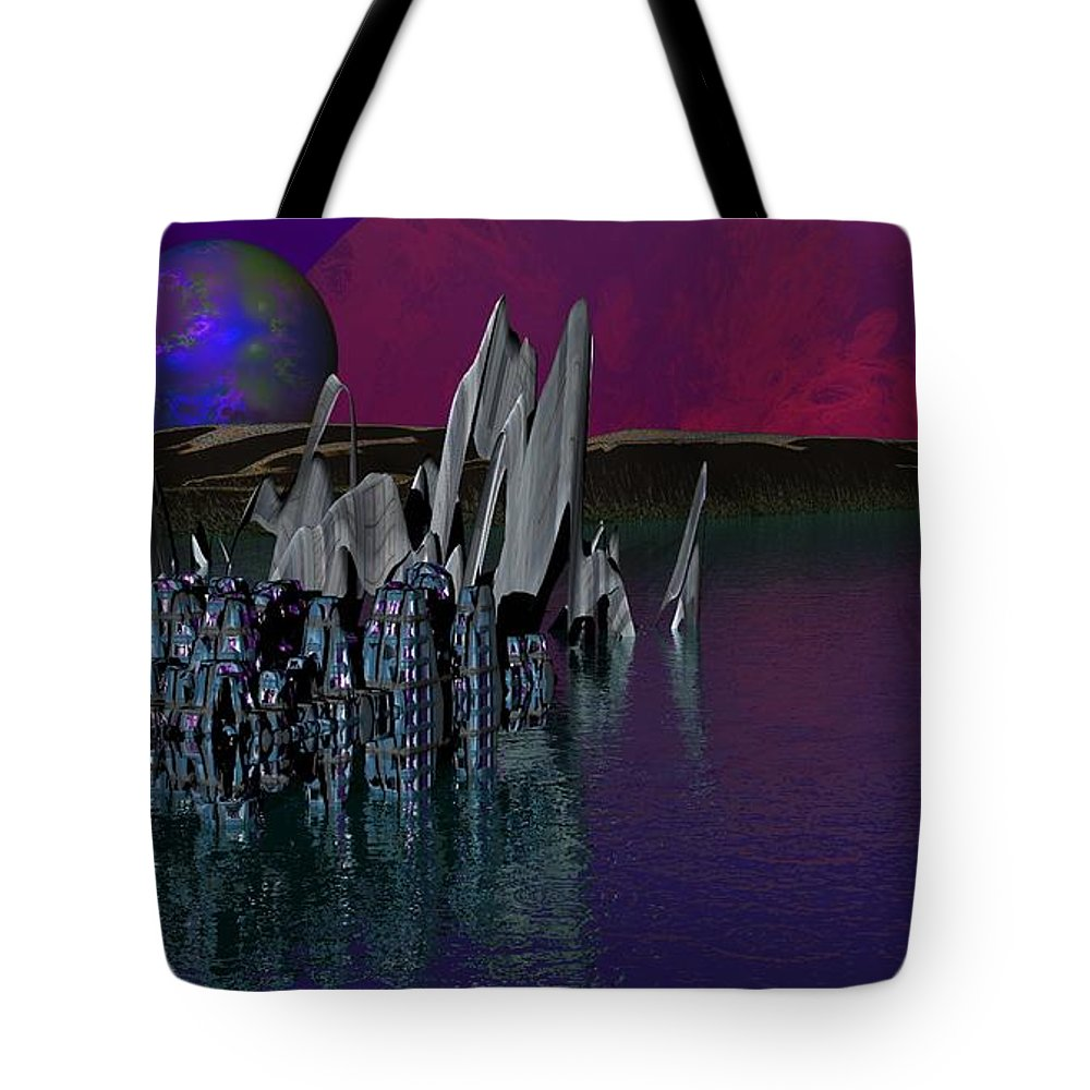 Fantasy Tote Bag featuring the digital art archeological Station on ERIDANUS Beta by David Lane