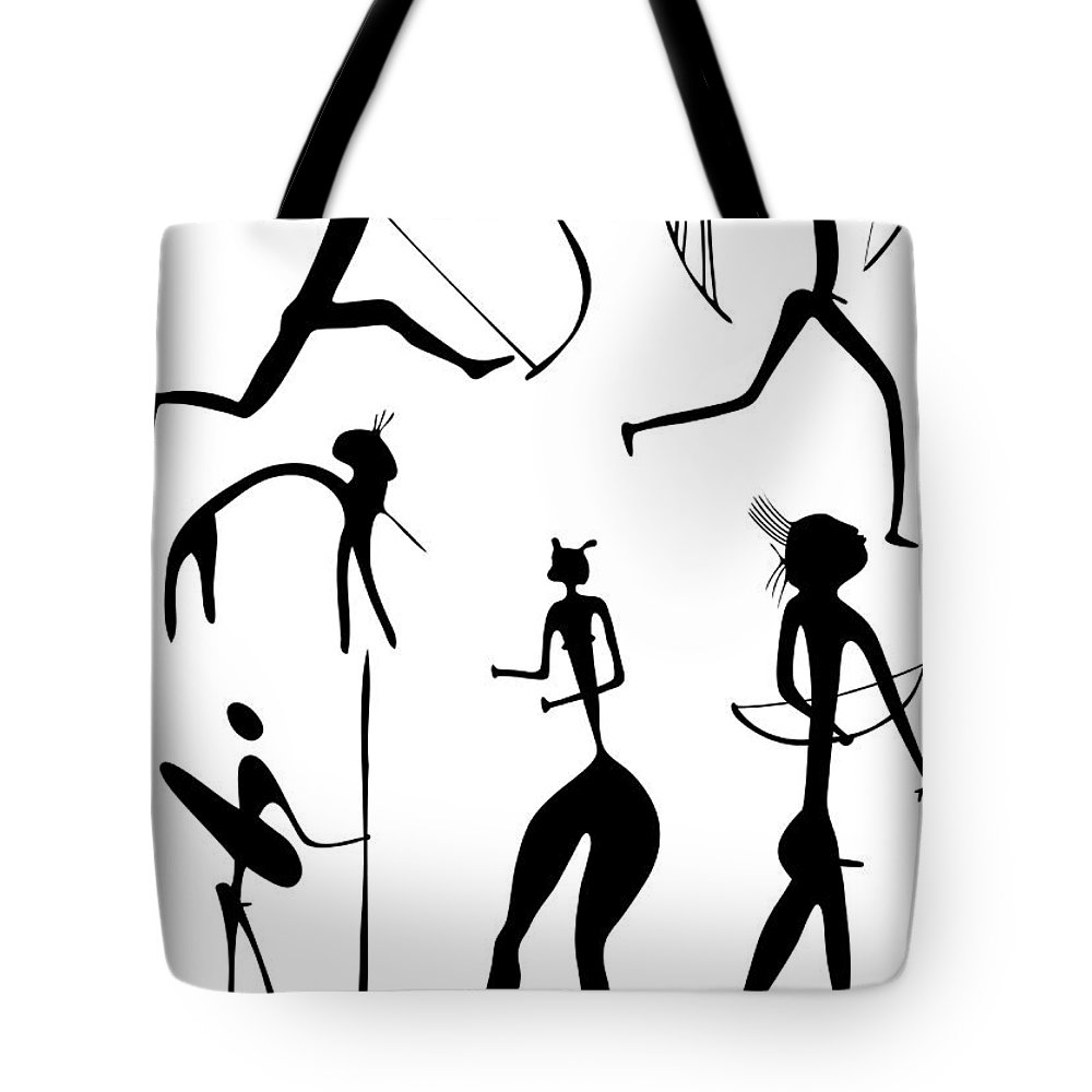 Vector Tote Bag featuring the drawing Archer And Other Figures by Michal Boubin