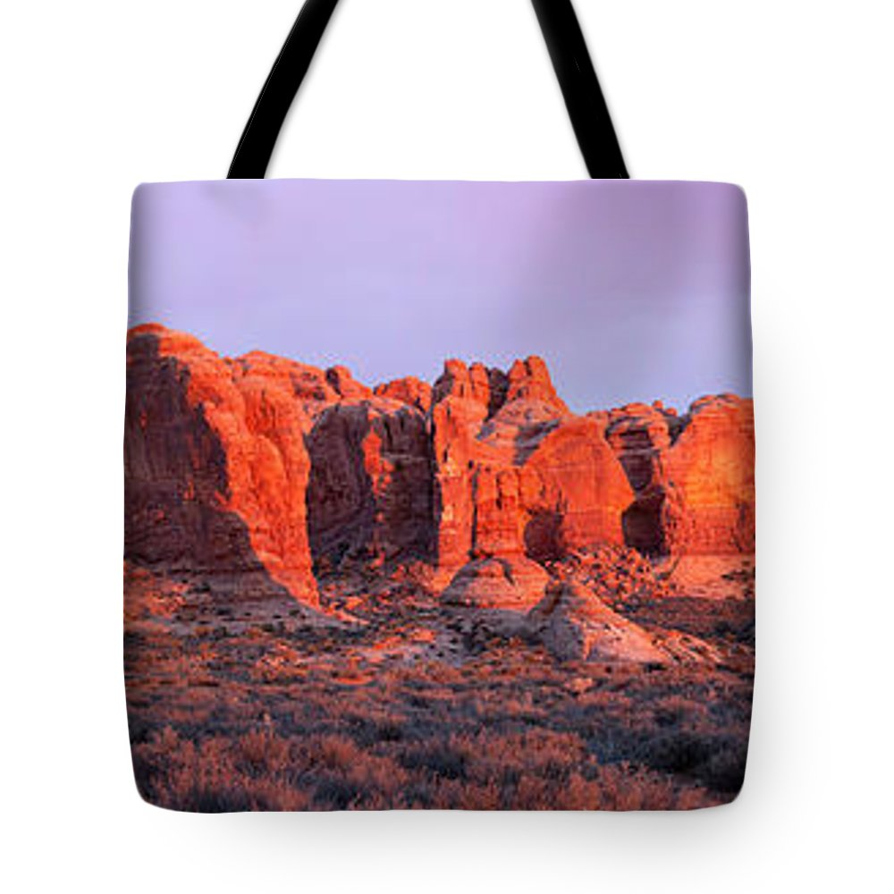 Arches National Park Tote Bag featuring the photograph Arches National Park Pano Two by Paul Basile
