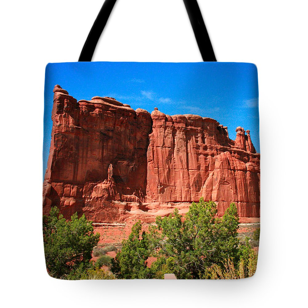 Arches National Park Tote Bag featuring the painting Arches National Park, Utah Usa - Tower Of Babel, Courthouse Tower by Corey Ford
