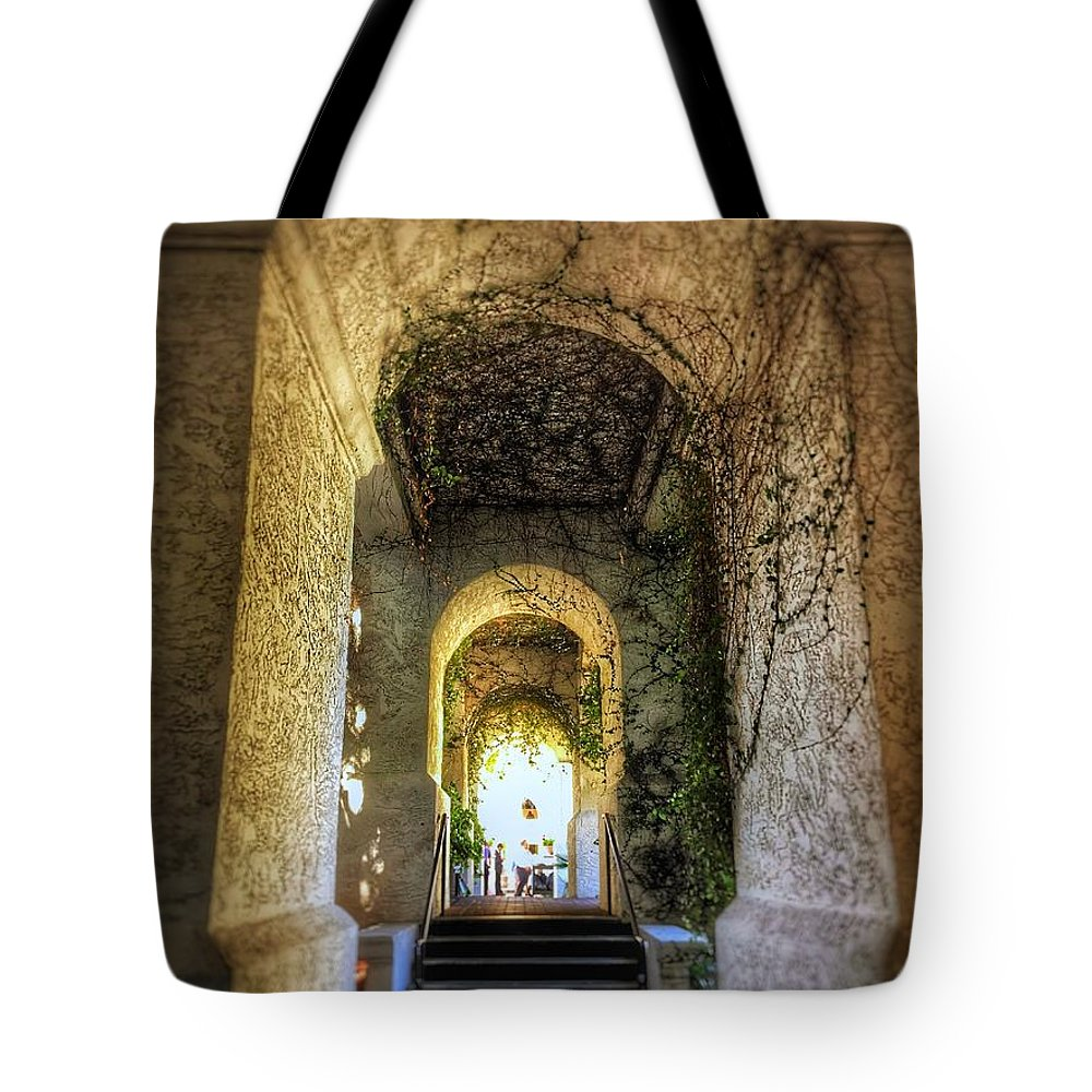 Vines Arch Archway Hotel Resort Spa Arizona Phoenix Tempe Grand Tote Bag featuring the photograph Archway by Brandon Stevens