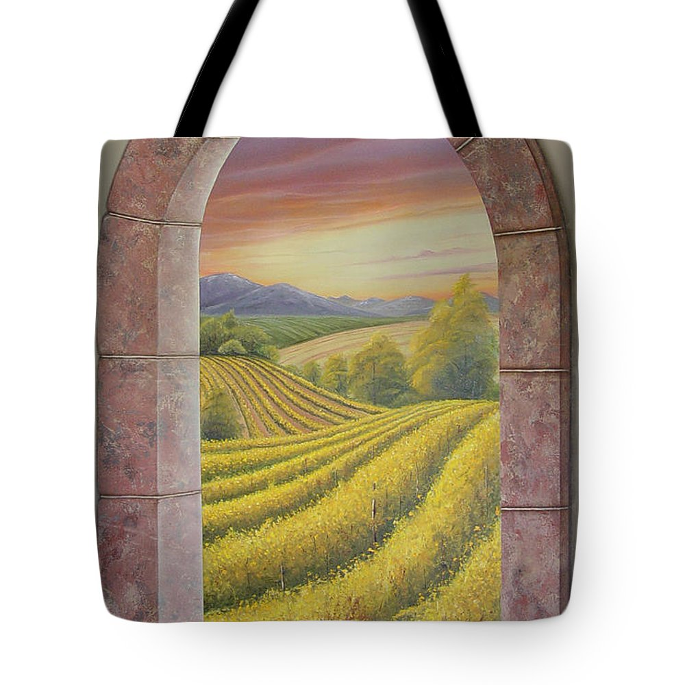 Realistic Tote Bag featuring the painting Arco Vinal by Angel Ortiz