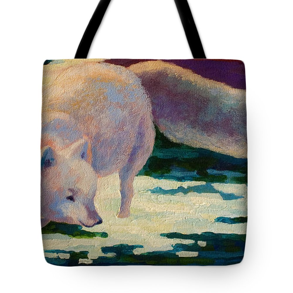 Arctic Tote Bag featuring the painting Arctic Fox by Marion Rose