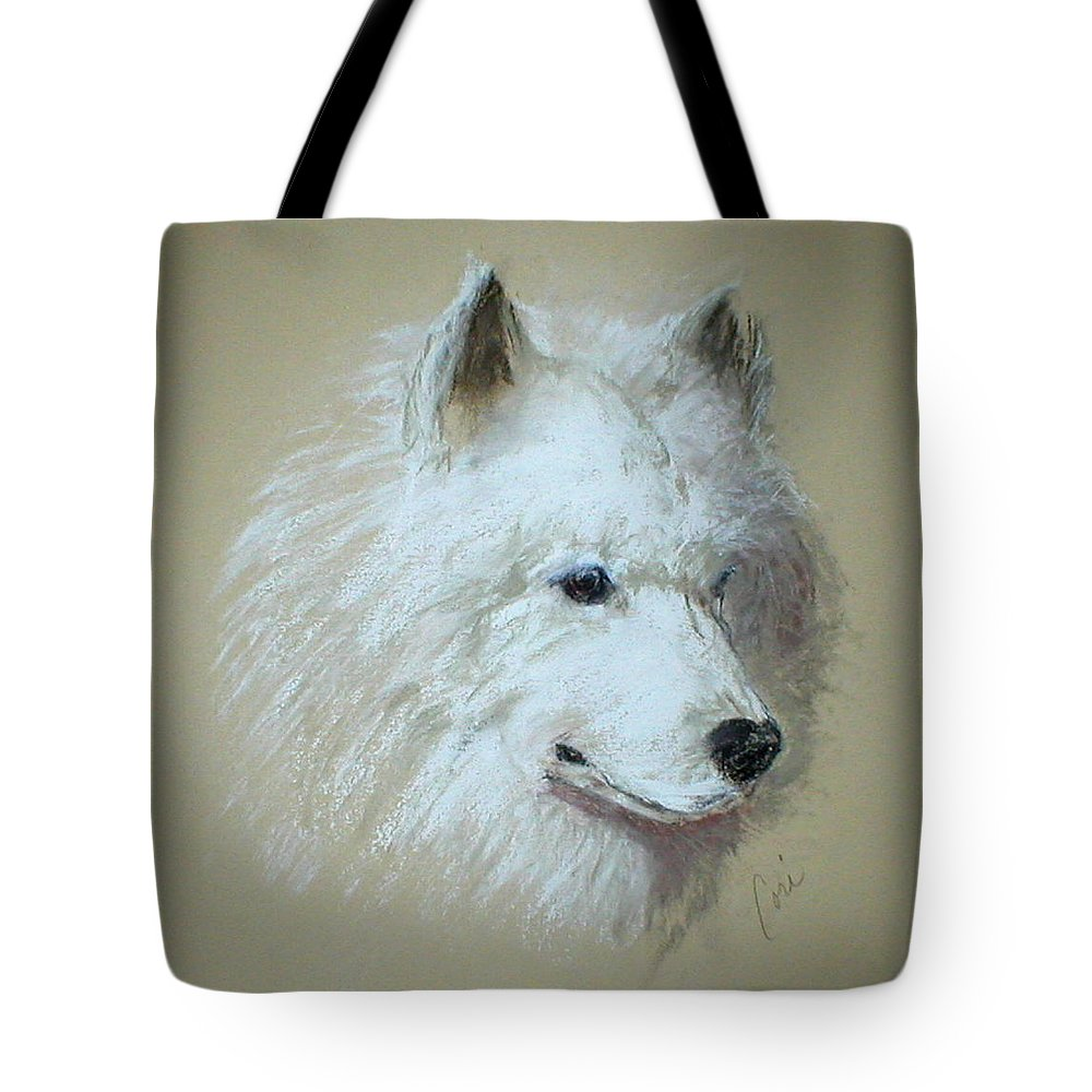 Dog Tote Bag featuring the drawing Arctic Serenity by Cori Solomon