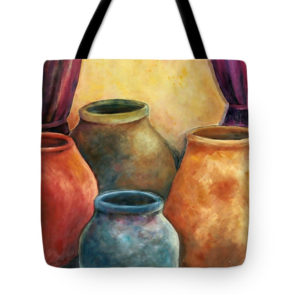 Trinity Tote Bag featuring the painting Are We Not Clay by Jun Jamosmos