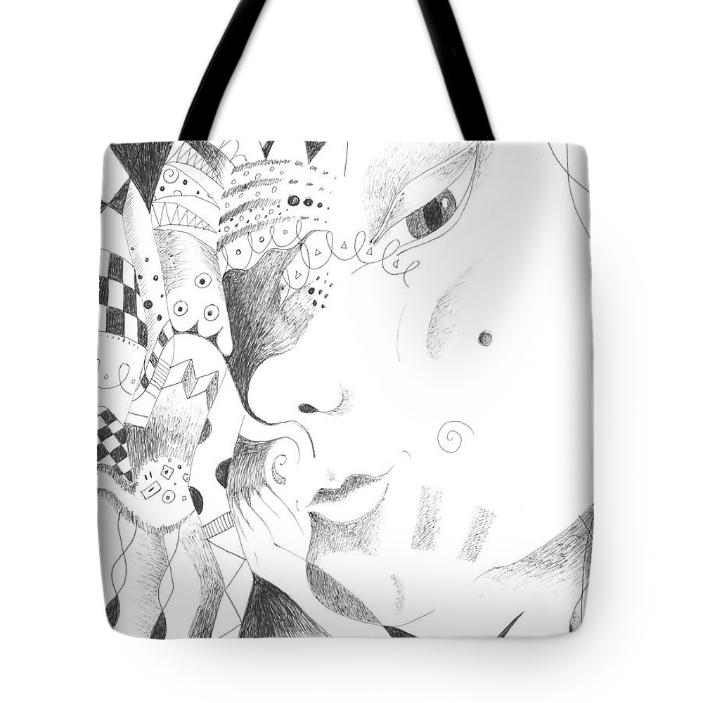Curious Tote Bag featuring the drawing Are You Curious by Helena Tiainen