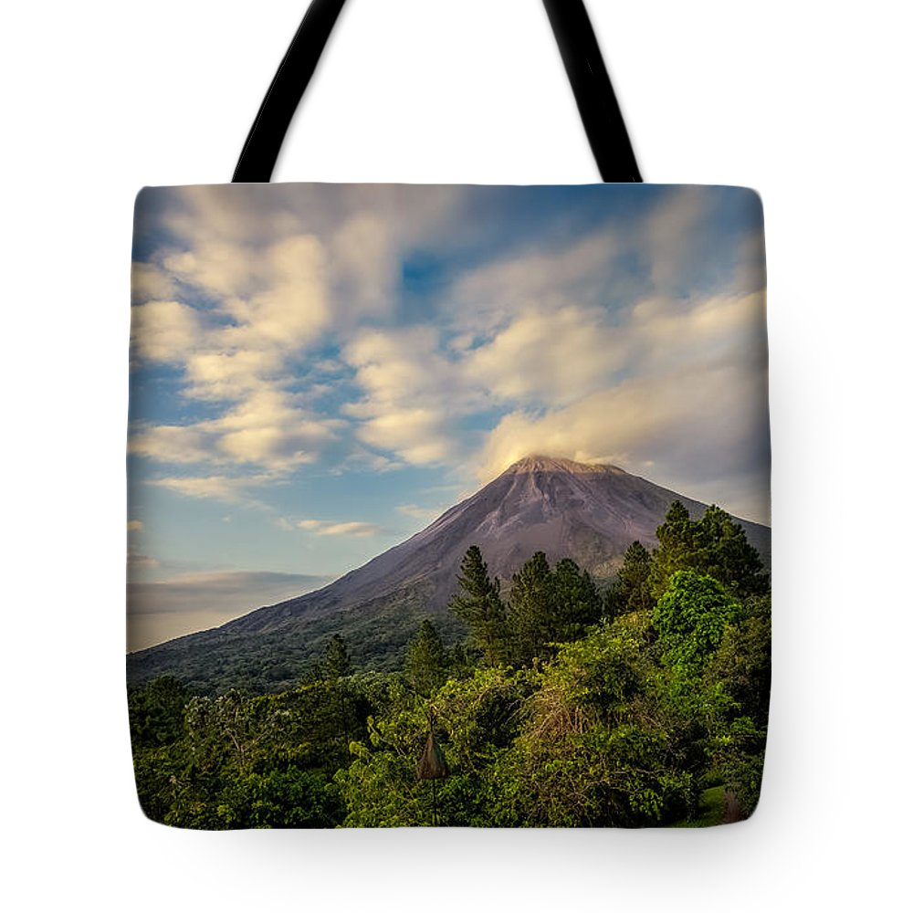 Land Tote Bag featuring the photograph Arenal At Dusk by Rikk Flohr