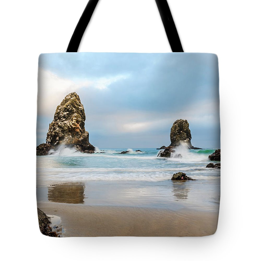 Cannon Beach Tote Bag featuring the photograph Arent Starfish Supposed To Be Underwater by Scott Campbell