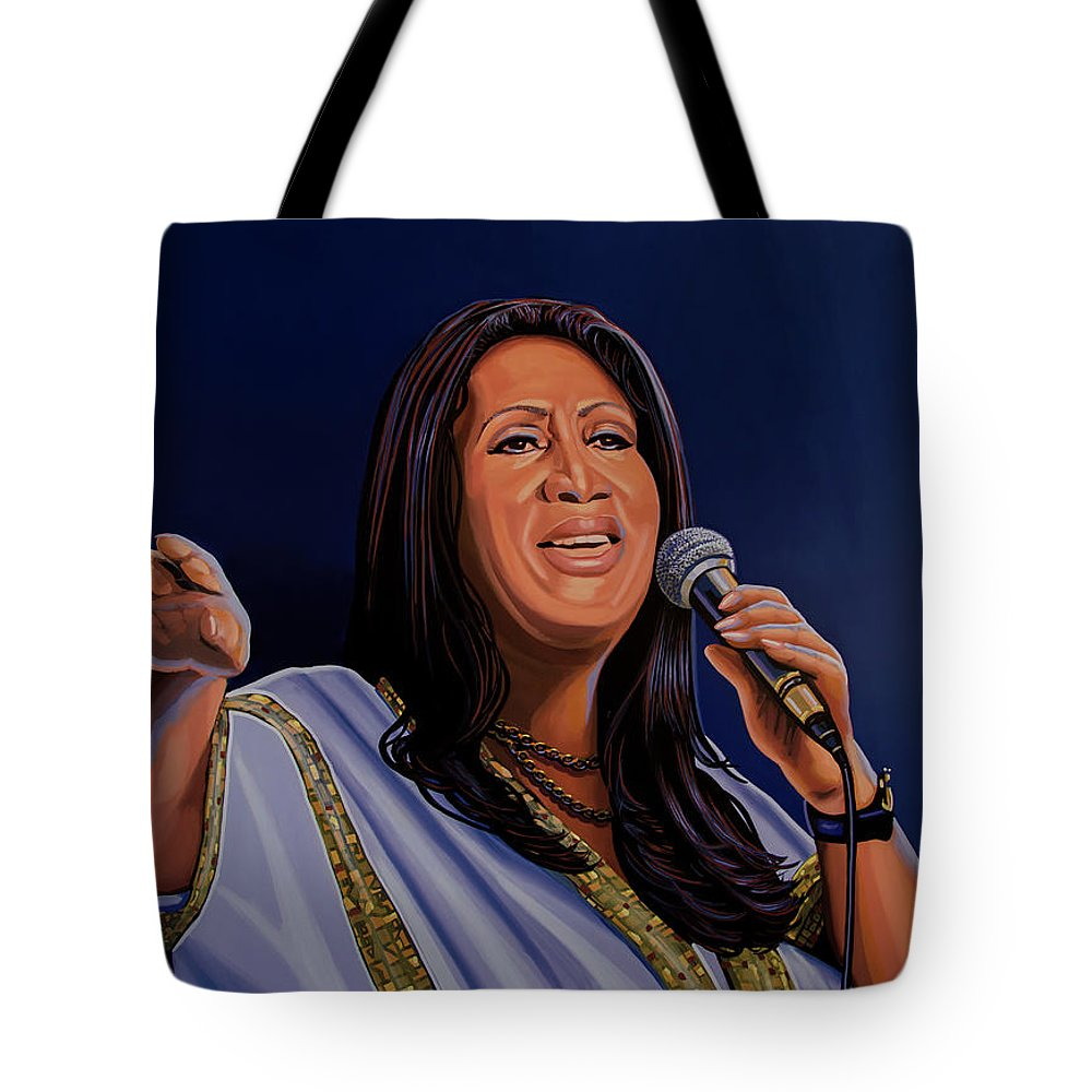 Aretha Franklin Tote Bag featuring the painting Aretha Franklin Painting by Paul Meijering