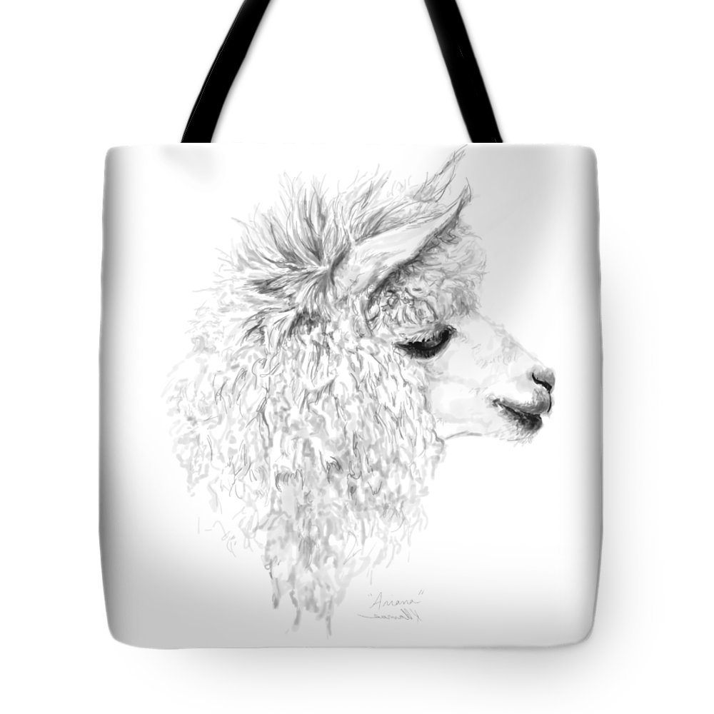 6f8785186933 Llama Art Tote Bag featuring the drawing Ariana by K Llamas