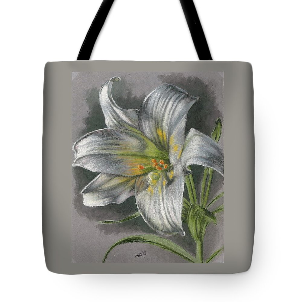 Easter Lily Tote Bag featuring the mixed media Arise by Barbara Keith