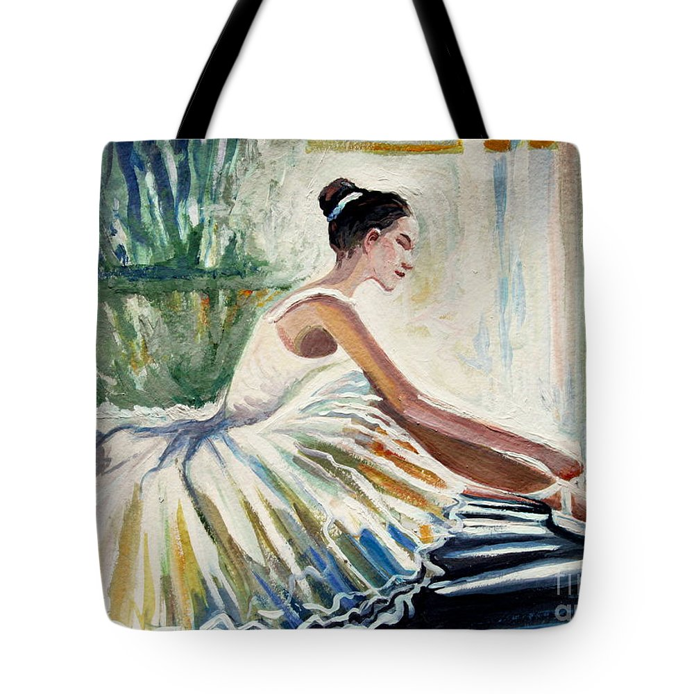 Ballerina Tote Bag featuring the painting Arise by Elizabeth Robinette Tyndall