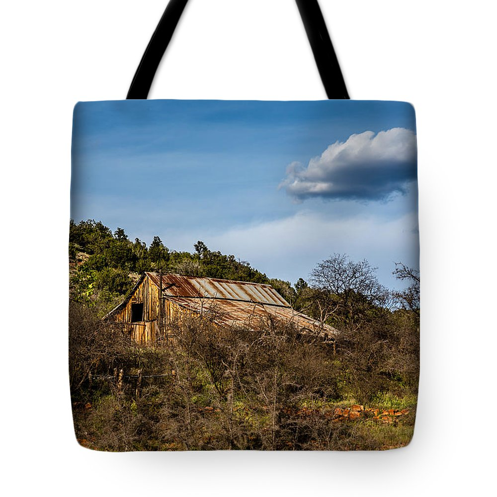 Abandoned Tote Bag featuring the photograph Arizona Barn by Dennis Swena