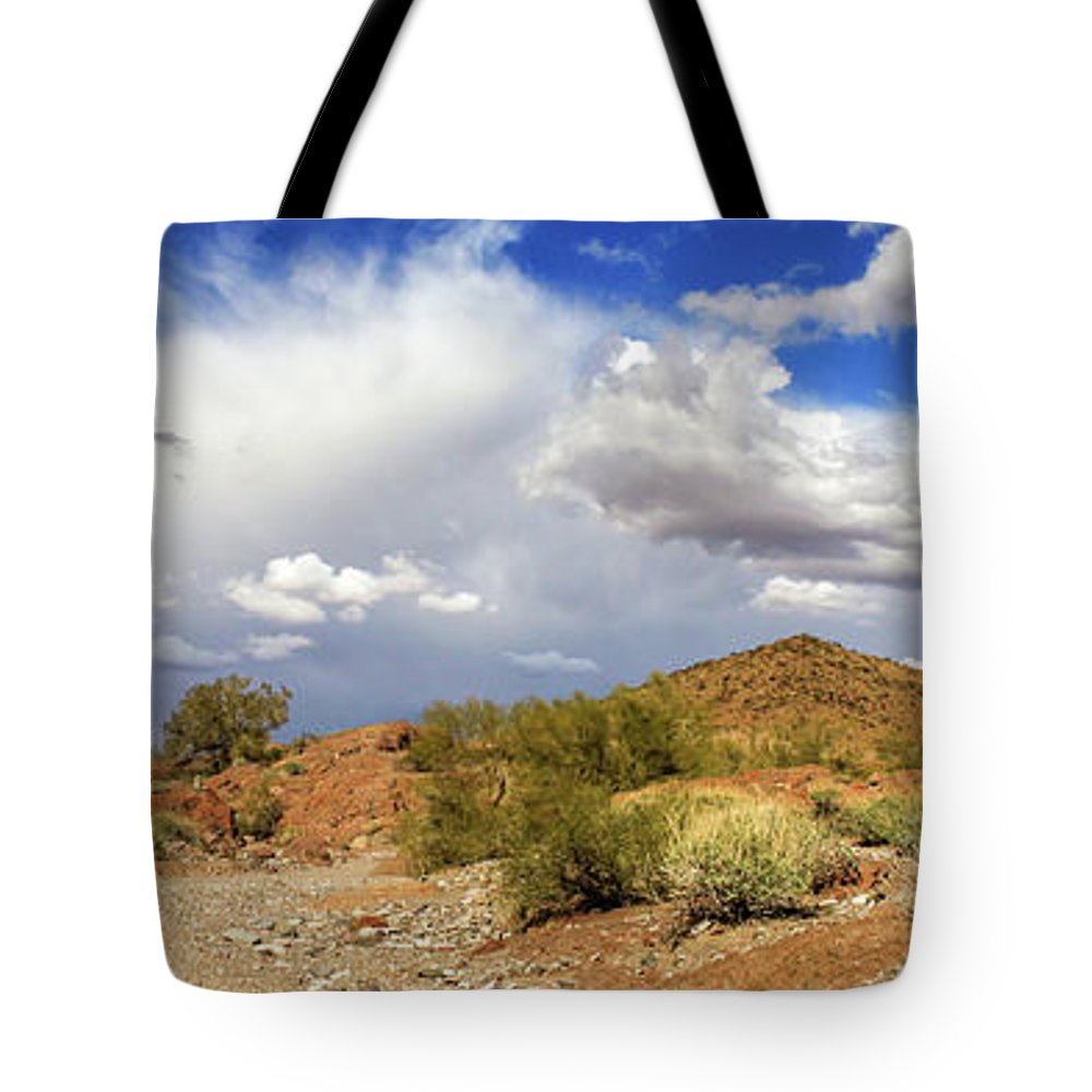 Landscape Tote Bag featuring the photograph Arizona Clouds by James Eddy