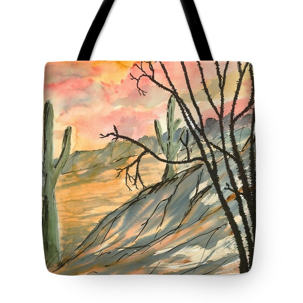Drawing Tote Bag featuring the painting Arizona Evening Southwestern Landscape Painting Poster Print by Derek Mccrea
