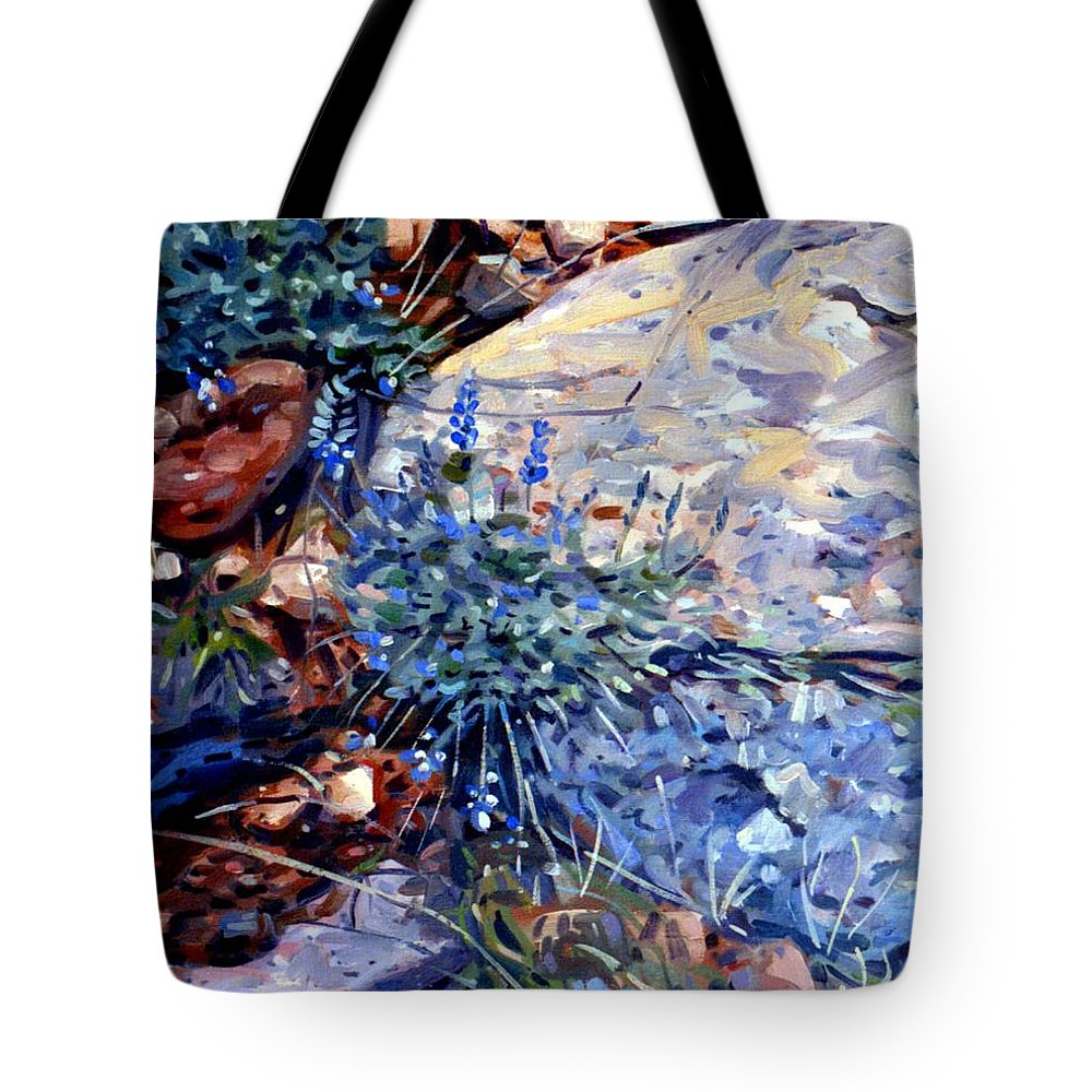 Blue Lupens Tote Bag featuring the painting Arizona Flora Study by Donald Maier