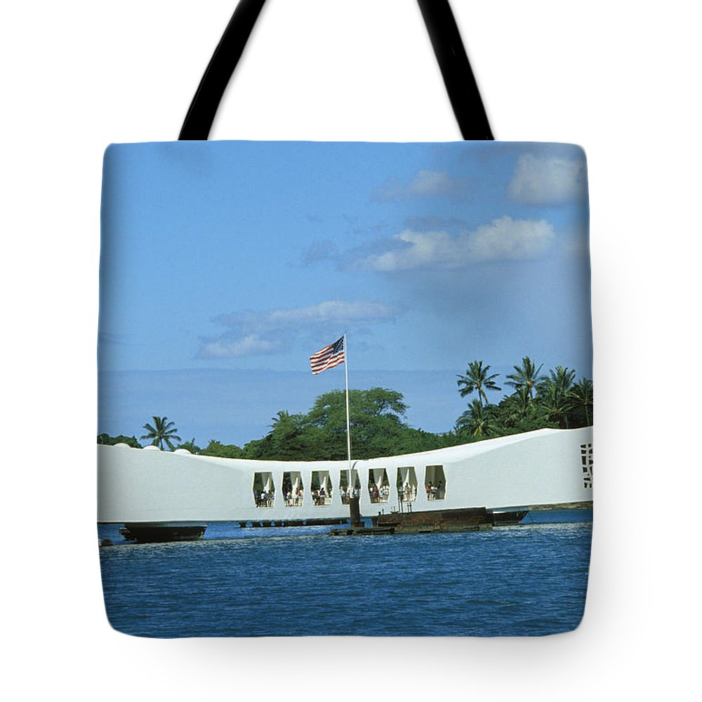 America Tote Bag featuring the photograph Arizona Memorial by Bob Abraham - Printscapes