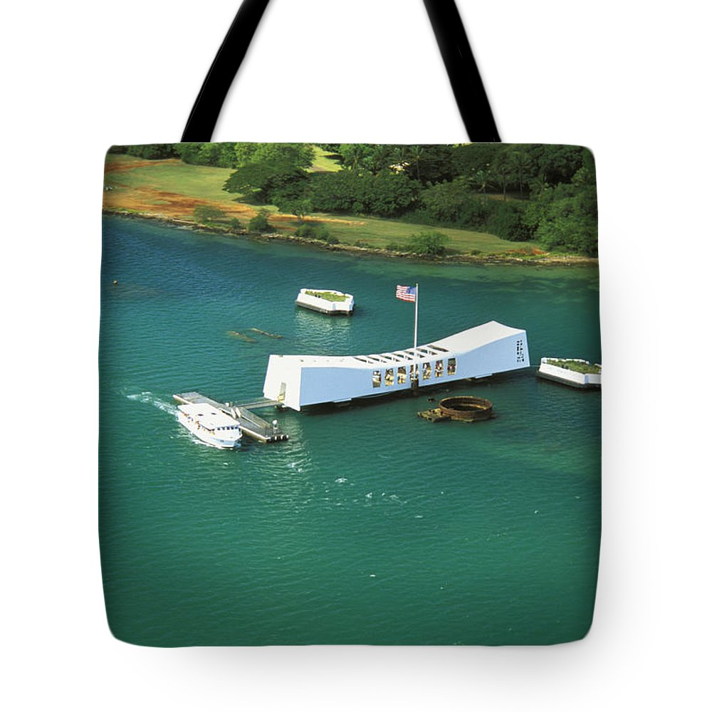 Above Tote Bag featuring the photograph Arizona Memorial From Above by Peter French - Printscapes