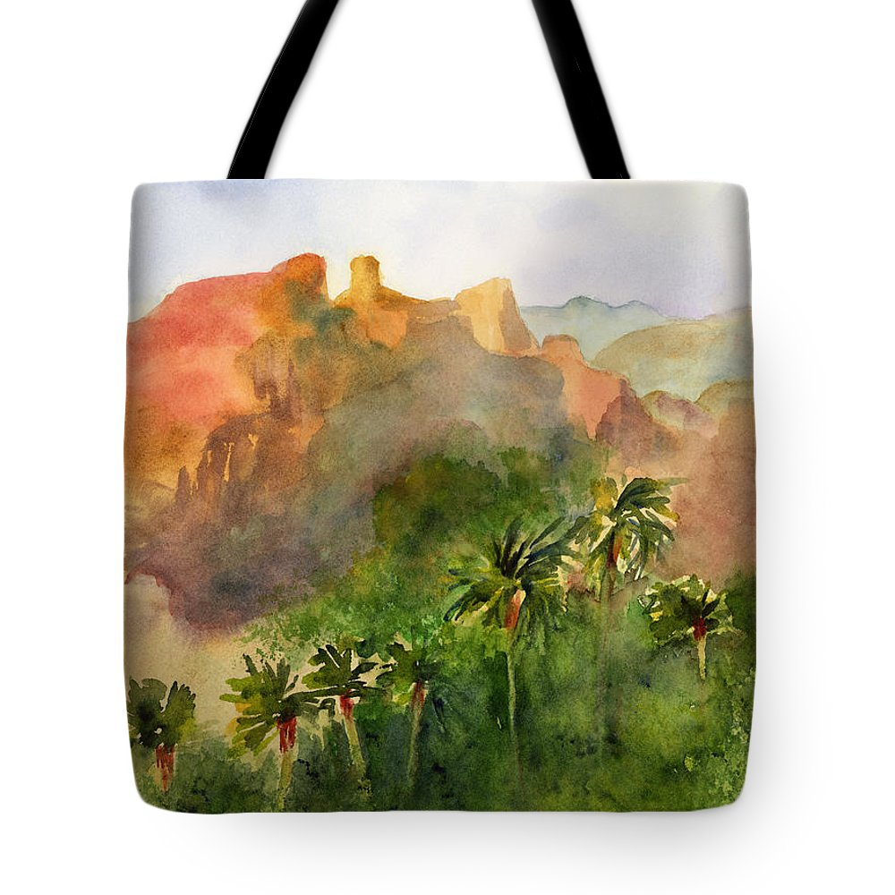 Arizona Tote Bag featuring the painting Arizona Palms by Amy Kirkpatrick