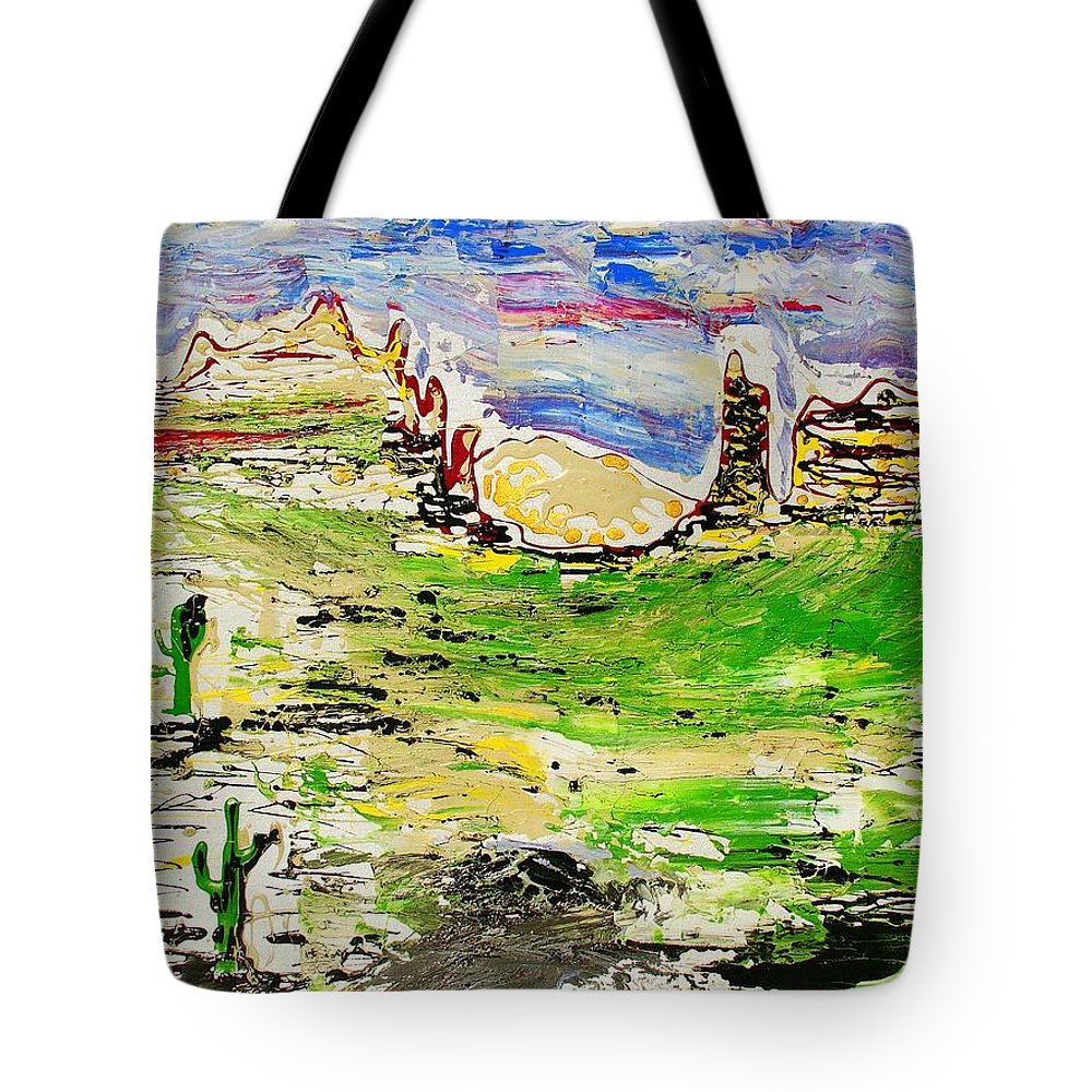 Cactus Tote Bag featuring the painting Arizona Skies by J R Seymour