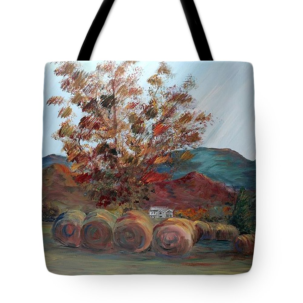 Autumn Tote Bag featuring the painting Arkansas Autumn by Nadine Rippelmeyer