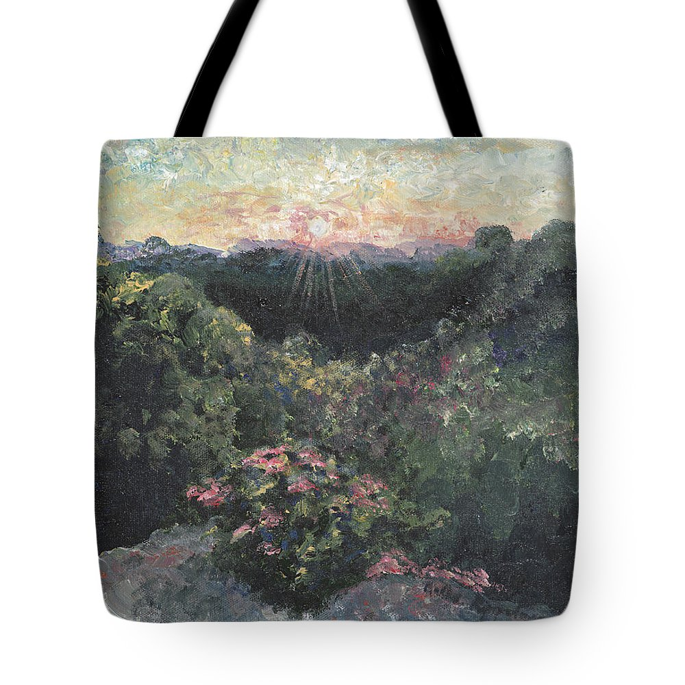 Landscape Tote Bag featuring the painting Arkansas Mountain Sunset by Nadine Rippelmeyer