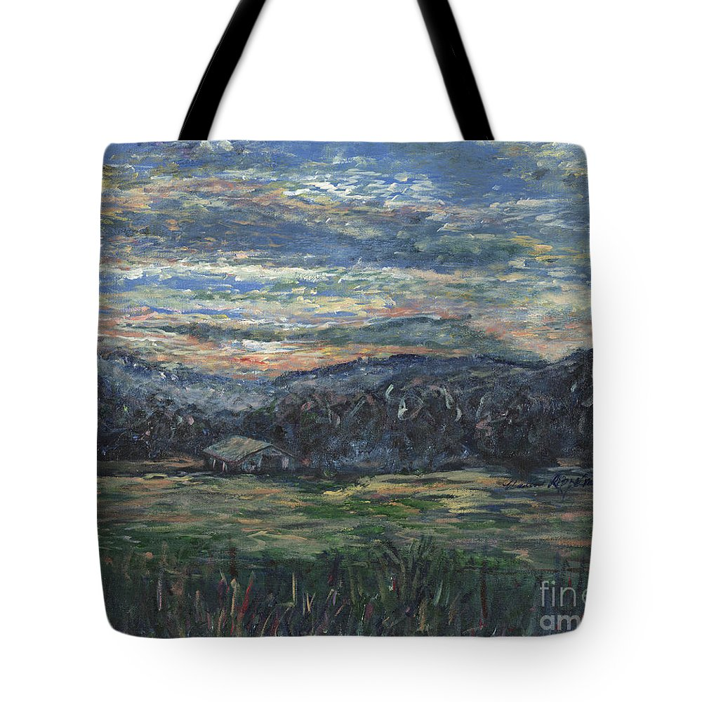 Impressionism Tote Bag featuring the painting Arkansas Sunrise by Nadine Rippelmeyer