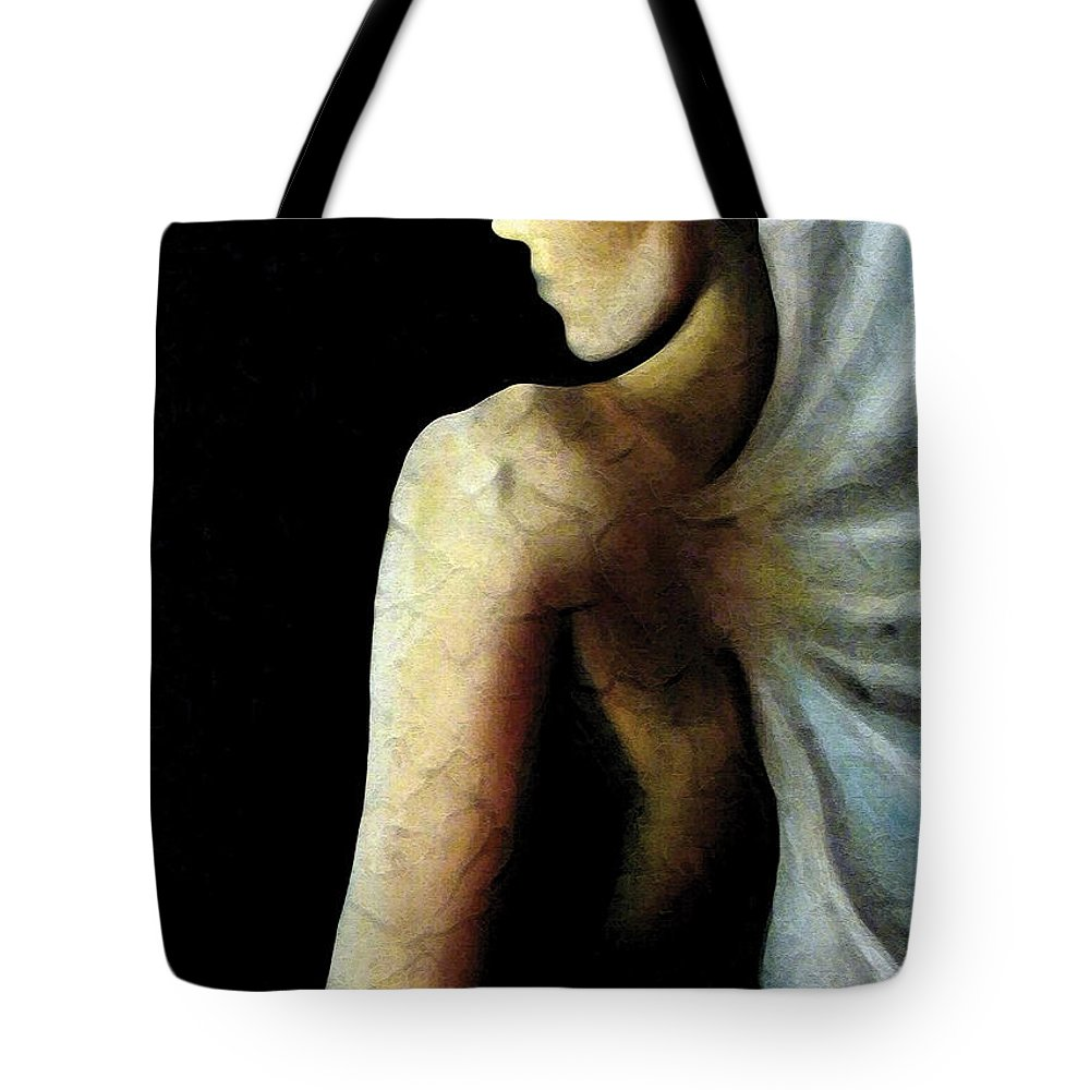 Angel Tote Bag featuring the painting Armaita Angel Of Truth Wisdom And Goodness by Elizabeth Lisy Figueroa