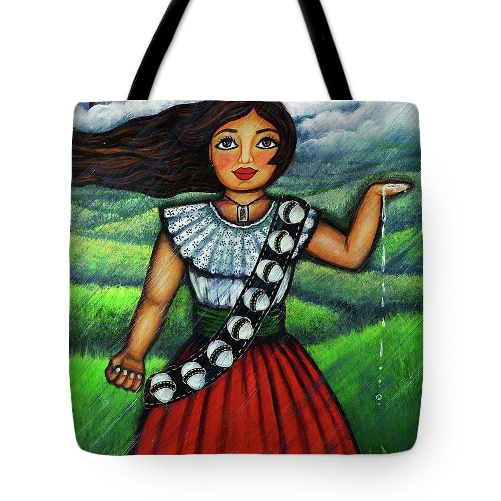 Mujer Mexicana Tote Bag featuring the painting Armate De Huevos En Tiempos Tormentosos by Laura Gomez