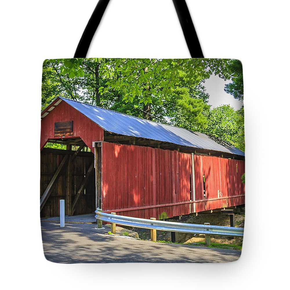 America Tote Bag featuring the photograph Armstrong/clio Covered Bridge by Jack R Perry