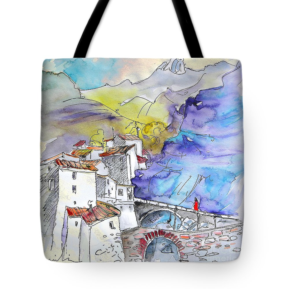 Arnedillo Tote Bag featuring the painting Arnedillo In La Rioja Spain 02 by Miki De Goodaboom