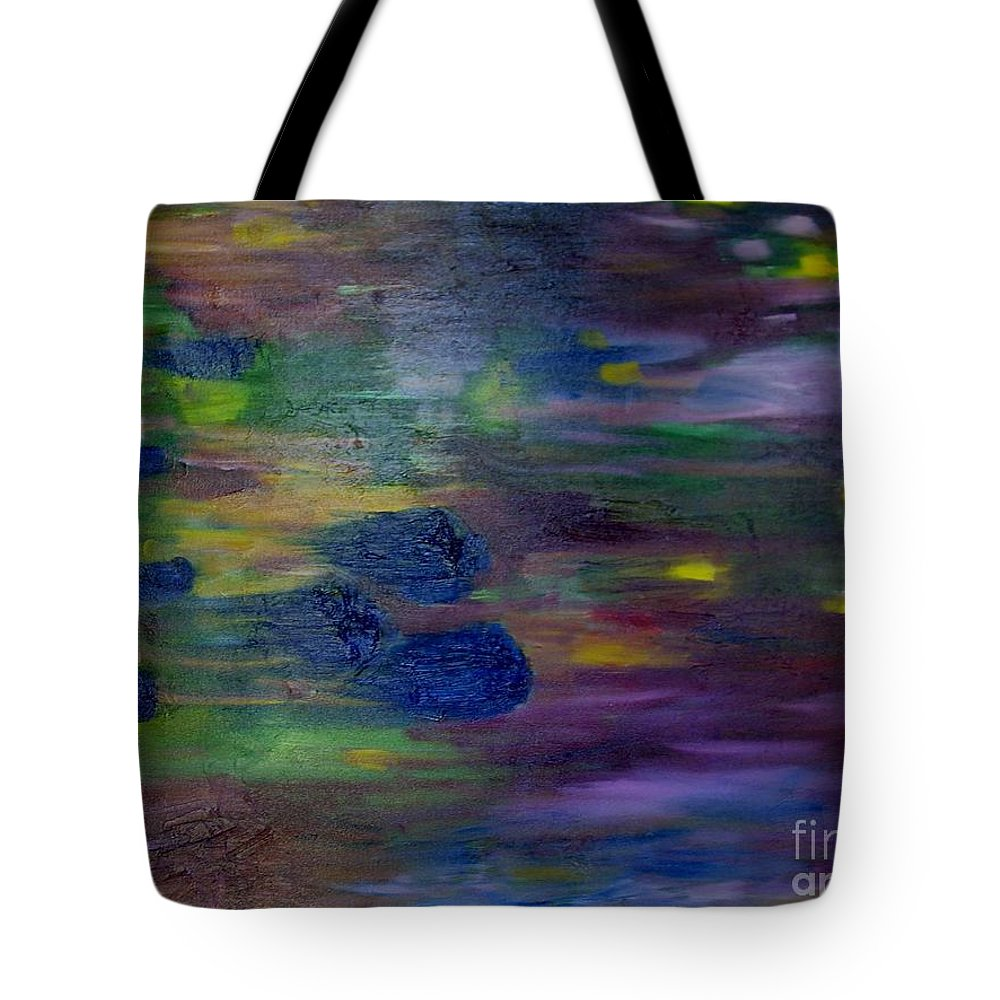 Abstract Tote Bag featuring the painting Around The Worlds by Laurie Morgan