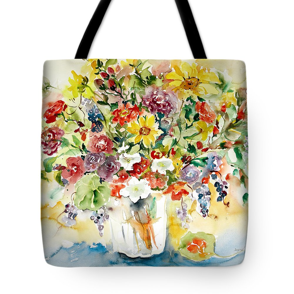 Watercolor Tote Bag featuring the painting Arrangement IIi by Alexandra Maria Ethlyn Cheshire