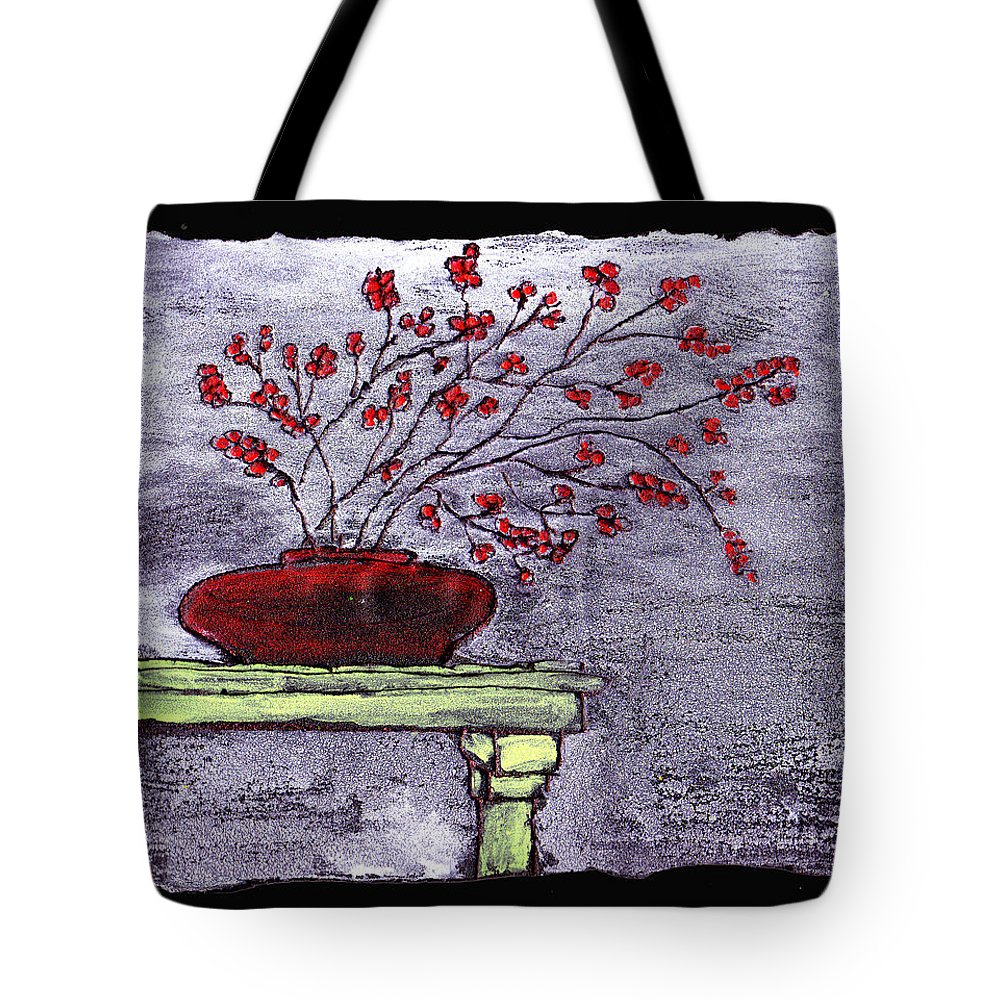 Flower Tote Bag featuring the painting Arrangement In Red by Wayne Potrafka