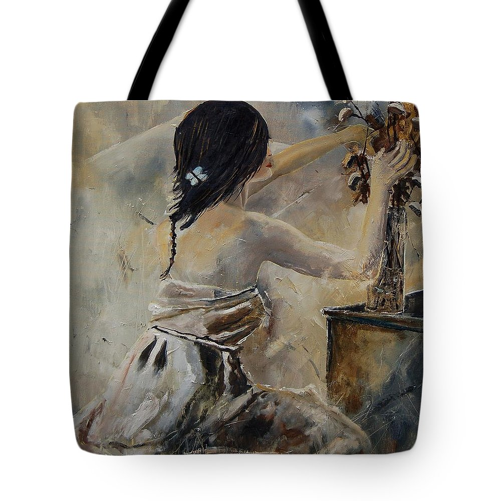 Girl Tote Bag featuring the painting Arranging Flowers by Pol Ledent