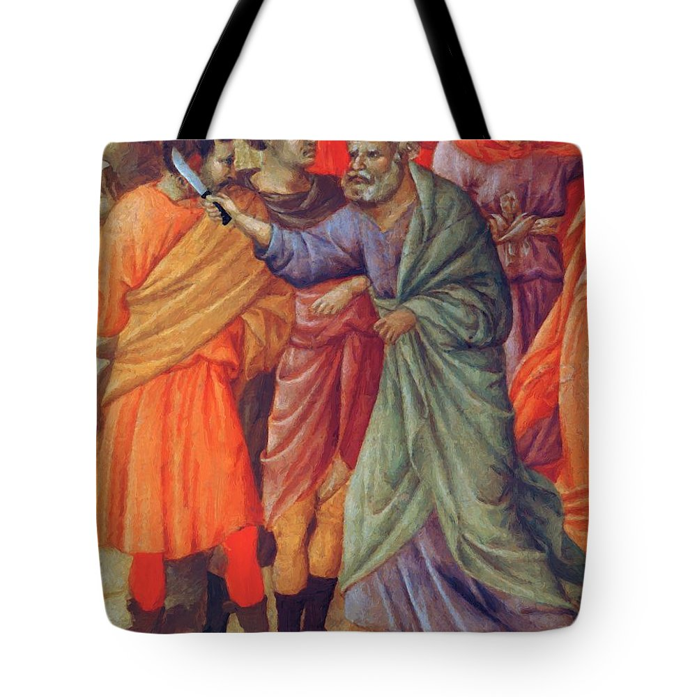 Arrest Tote Bag featuring the painting Arrest Of Christ 1311 by Duccio