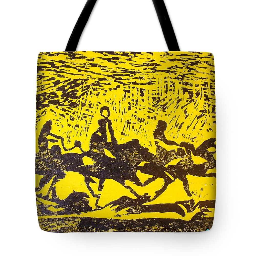 Arrival Tote Bag featuring the mixed media Arrival by Olaoluwa Smith